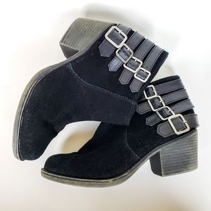 Crown Vintage Joie Black Suede Buckle Booties, 8